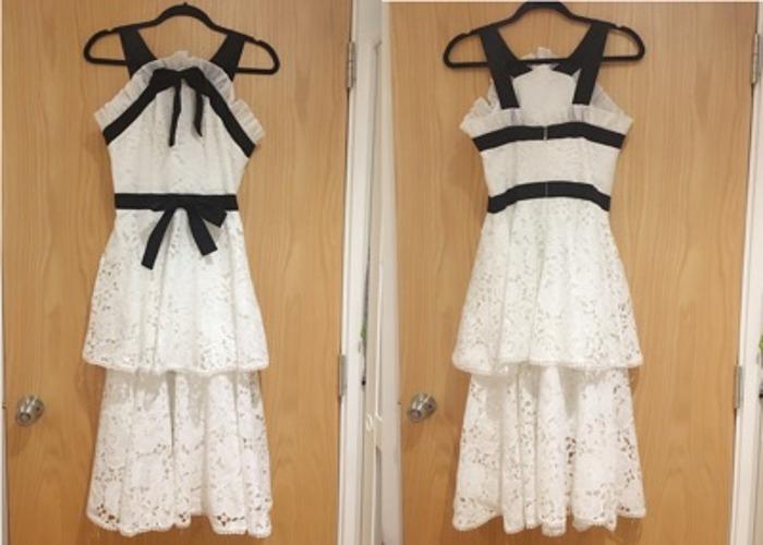 Luxury white lace black bow tie & trim Midi embroidery Dress - 1
