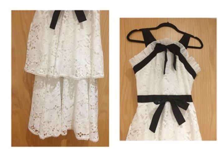 Luxury white lace black bow tie & trim Midi embroidery Dress - 2