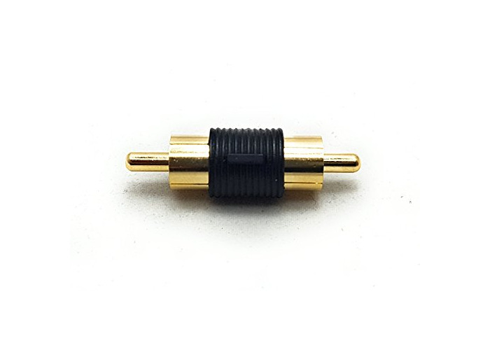 MainCore RCA Phono Male Plug To RCA Phono Plug Joiner Coupler Adapter (Male to Male) Gold Plated. - 1