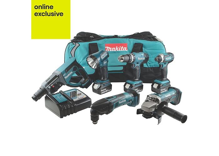 Makita LXT Cordless 18 V 4Ah 6 piece Power tool kit - 1