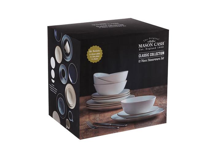 Mason Cash Classic Collection 12 Piece Fine Stoneware Dinner Set, Ceramic, Cream, 29 x 29 x 22 cm - 2