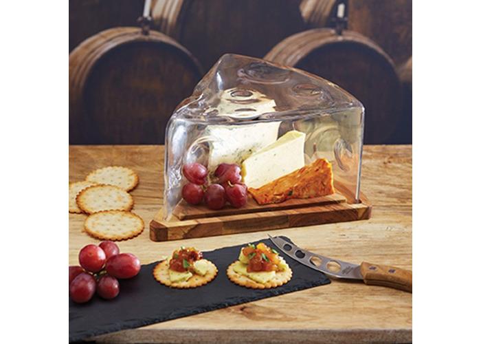Master Class 25 x 25 x 13 cm Artesa Acacia Wood and Glass Cheese Wedge Cloche - 2