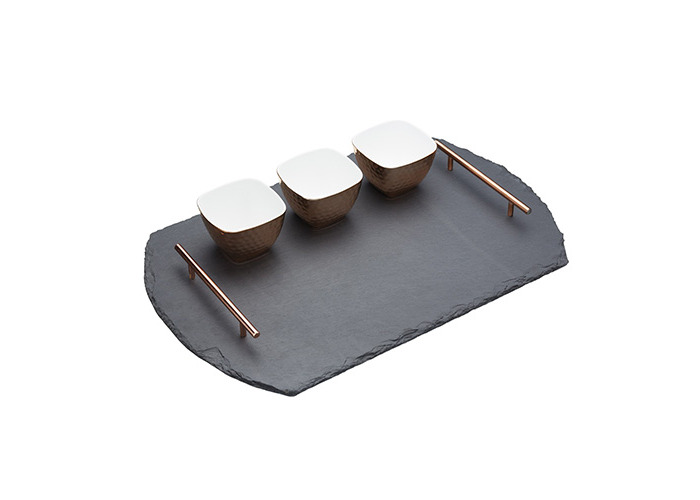 Master Class Artesà Slate Serving Tray and Copper-Finish Bowls (4-Piece Set) - 1