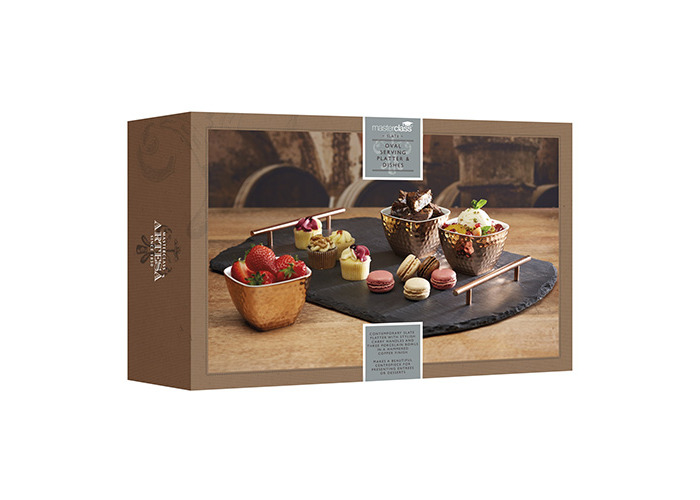 Master Class Artesà Slate Serving Tray and Copper-Finish Bowls (4-Piece Set) - 2