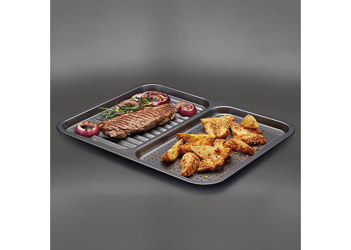 "Master Class Non-Stick 2-in-1 Divided Crisping Tray / Ridged Baking Tray, 39 x 31 cm (15"" x 12"") - 2"