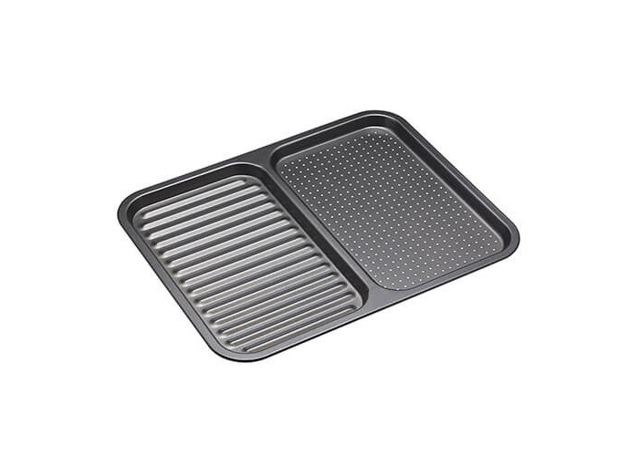 "Master Class Non-Stick 2-in-1 Divided Crisping Tray / Ridged Baking Tray, 39 x 31 cm (15"" x 12"") - 1"