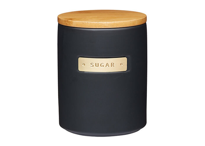 Master Class Stoneware and Brass Effect Sugar Container with Airtight Bamboo Lid, 1 L (1.75 pt) - Black - 1