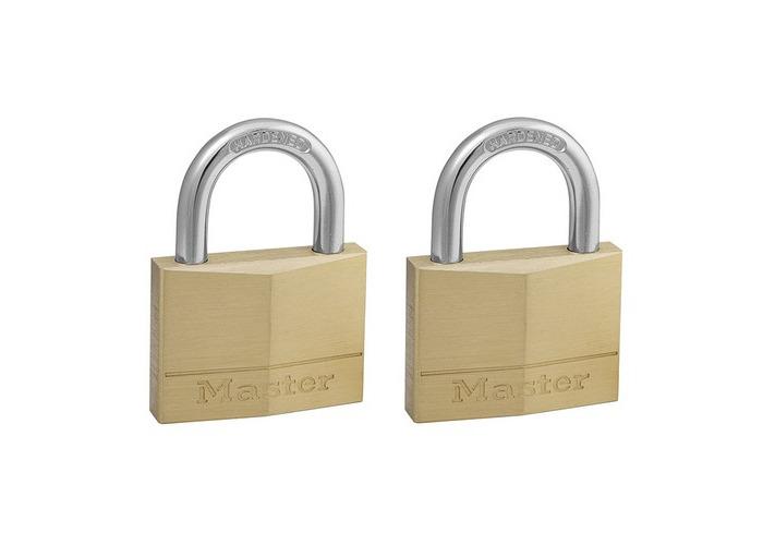 Master Lock 150T Solid Brass 50mm Padlock 5 Pin - Keyed Alike x 2 - 1