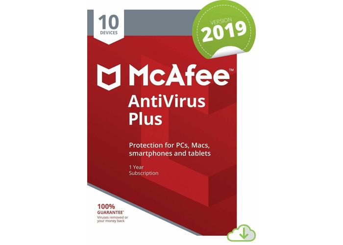 MCAFEE ANTIVIRUS PLUS 2019 - 10 DEVICES - 1 YR PC MAC ANDROID IOS IPHONE - 1