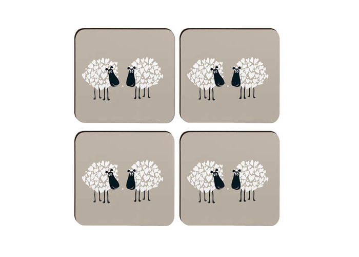 Melamaster Moulded Coaster Pack Of 4 Sheep - 1