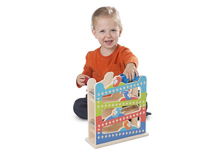 Melissa & Doug First Play Roll & Ring Ramp Tower (Cars and Vehicles, 2 Wooden Cars, 32.0675 cm H x 11.1125 cm W x 28.2575 cm L) - 2