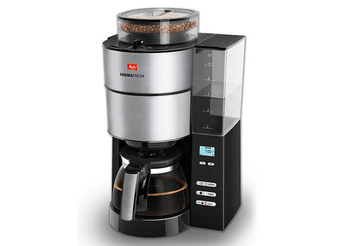 Melitta AromaFresh Grind and Brew, 1021-01, Filter Coffee Machine, Glass Coffee Jug Included, Adjustable Grind Level and Intensity, Black/Stainless Steel - 2