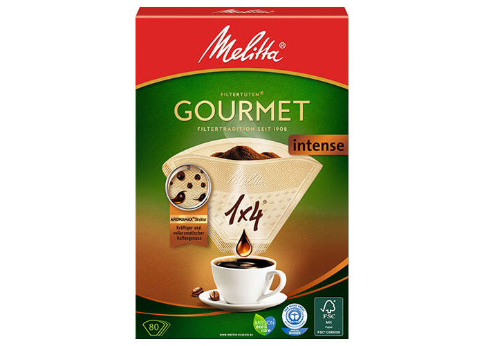 Melitta Gourmet Intense Coffee Filters Size 1x4, 80 Coffee Filters, For Filter Coffee Makers, Brown - 1