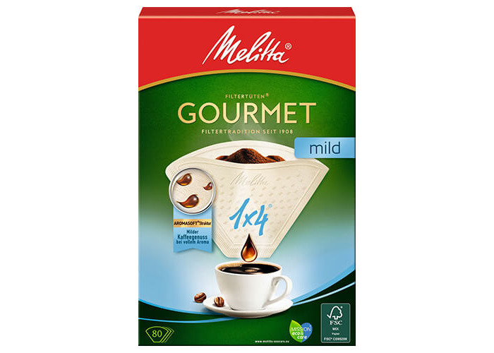 Melitta Gourmet Mild Coffee Filters Size 1x4, 80 Coffee Filters, For Filter Coffee Makers, White - 1