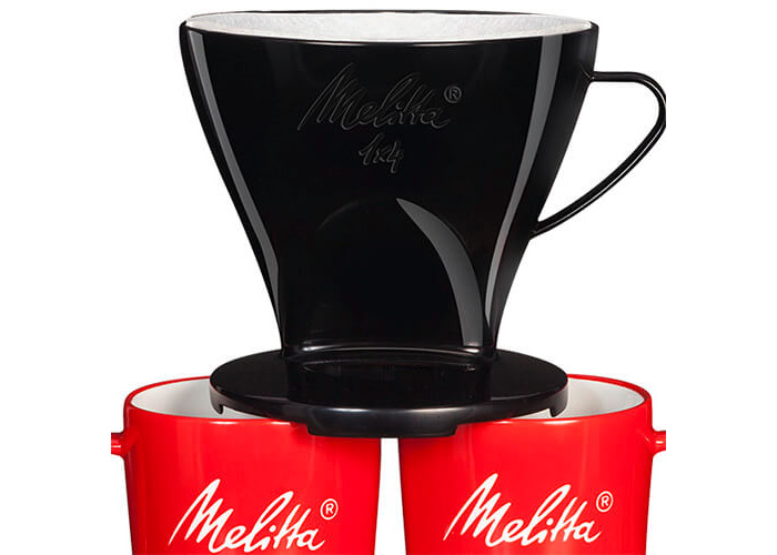 Melitta Manual Filtration Kit, 1 Size 1x4 Filter Holder, 2 Porcelain Mugs (290 ml), 5 Coffee Filters 1x4, For Over Black - 2