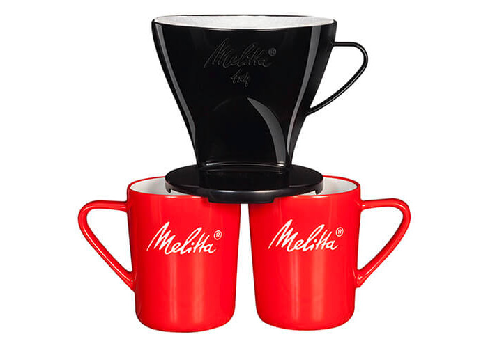 Melitta Manual Filtration Kit, 1 Size 1x4 Filter Holder, 2 Porcelain Mugs (290 ml), 5 Coffee Filters 1x4, For Over Black - 1