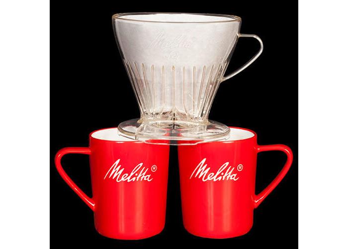 Melitta Manual Filtration Kit, 1 Size 1x4 Filter Holder, 2 Porcelain Mugs (290 ml), 5 Coffee Filters 1x4, Pour Over, Transparent - 1