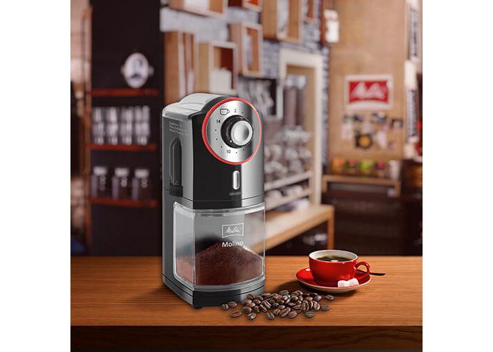 Melitta Molino Coffee Grinder, 1019-01, Electric Coffee Grinder, Flat Grinding Disc, Black/Red - 2