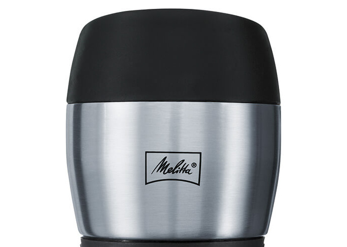 Melitta Thermal Mug, Closure by Pressure, 100% Airtight Seal, Silicone, 350 ml, Black/Stainless Steel - 2