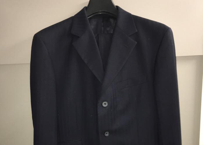 Men's Navy Blue Herringbone Suit - 1