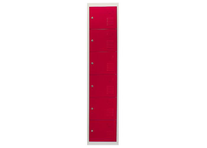 Metal Storage Lockers - Six Doors (Red) | 450mm(d)x380mm(w)x1800mm(h) - 2