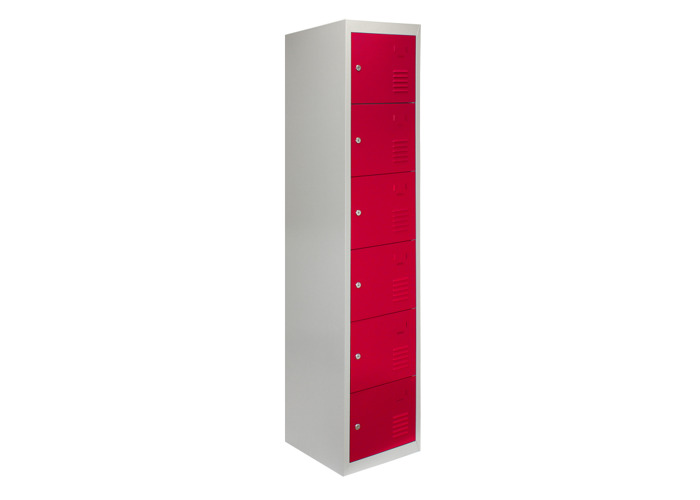 Metal Storage Lockers - Six Doors (Red) | 450mm(d)x380mm(w)x1800mm(h) - 1