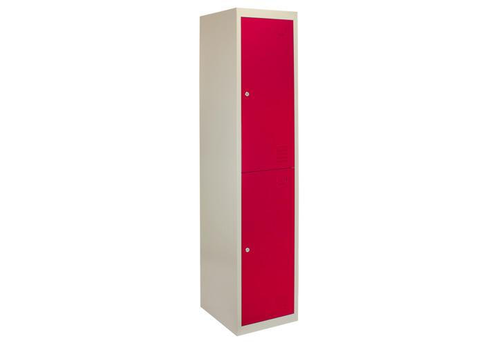 Metal Storage Lockers - Two Doors, Flatpacked (Red) | 450mm(d)x380mm(w)x1800mm(h) - 1