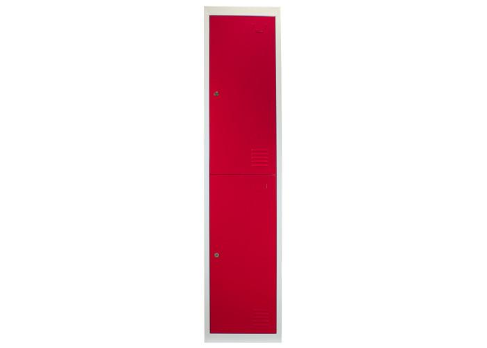 Metal Storage Lockers - Two Doors, Flatpacked (Red) | 450mm(d)x380mm(w)x1800mm(h) - 2