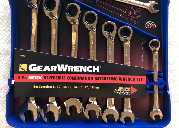 GEARWRENCH 9543 8 Piece Reversible Combination Ratcheting Wrench Set Metric