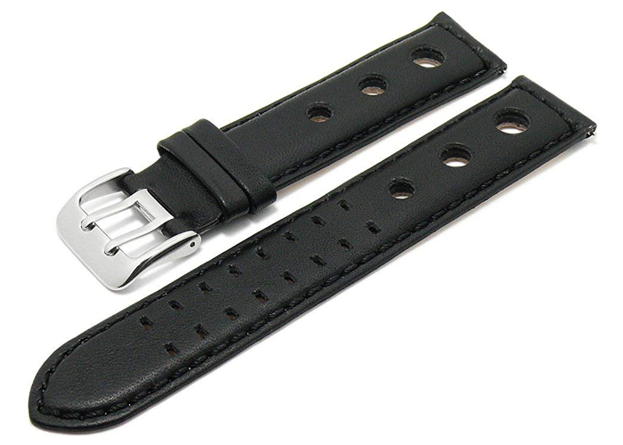 Meyhofer Easy-Click My2heml3018-20<wbr/>-sch Arches Watch Strap 20 mm Black Leather Ve - 2