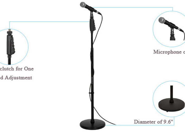 Microphone Stand, Heavy Duty, Mic Holder, Weighted base. - 1