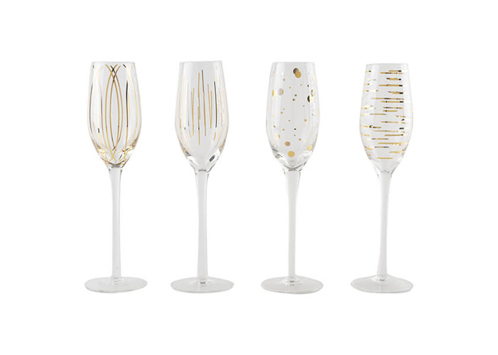 Mikasa 'Cheers' Etched Crystal Champagne Flute Glasses, 210 ml – Gold Effect (Set of 4) - 1