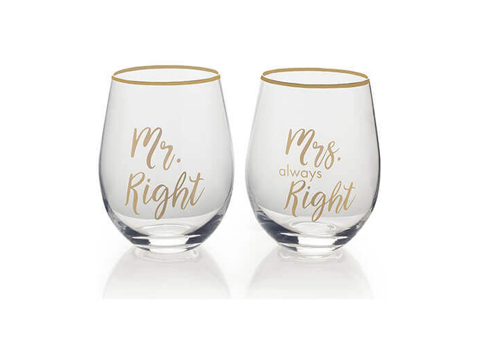 Mikasa Stemless Wine Glass Gift Set, 18-Ounce, Mr. Right/Mrs Always Right - 1