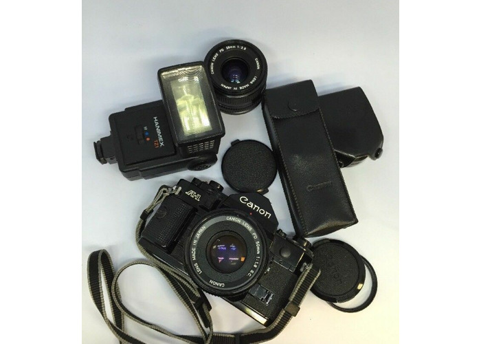 MINT CANON A-1 SLR CAMERA+50MM 1.8SC+28MM 2.8 CANON LENSES+POWER WINDER+FLASH - 2