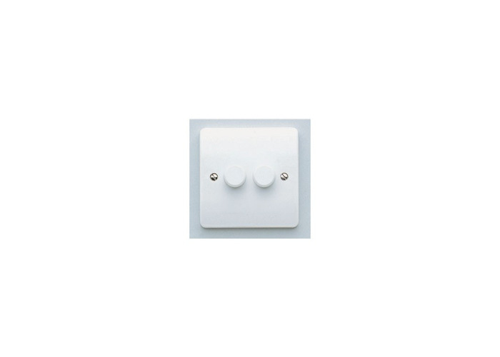 MK Logic Plus Double Intelligent LED Dimmer Switch, Two Way, 40-300W/240VA/4-70W, White - 1