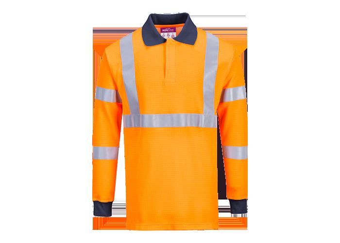 Modaflame Hi-Vis Polo Shirt  Orange  XXL  R - 1
