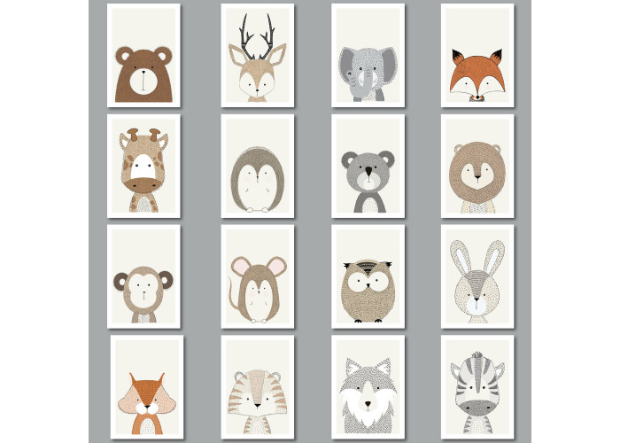 Modern Forest Jungle Animal Nursery Wall Decor Art