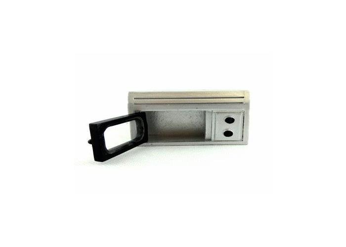 Modern silver microwave  - 1