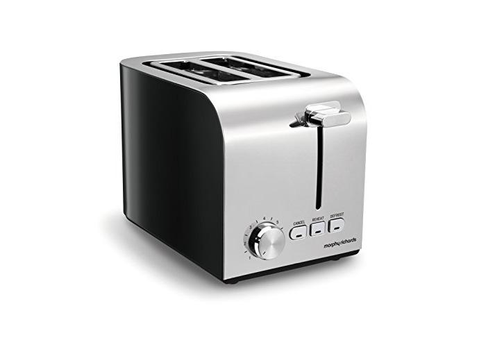 Morphy Richards Equip 2 Slice Toaster 222054 Black Stainless Steel Two Slice Toaster Black Toaster - chrome/black - 1