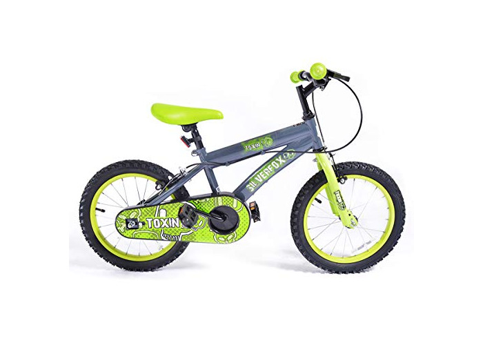 Muddyfox x Silverfox Toxin Boys Bike With Spoked Wheels - Grey/Green, Size 16 Inch - 1