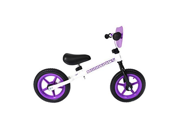 Muddypaws Girl Balance Kid's Bike, Purple/White, 12-Inch - 1