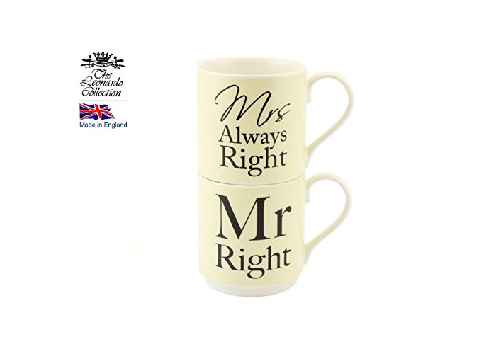 Mug Set (stacking) Mr Right & Mrs Always Right His' Hers Design - 1