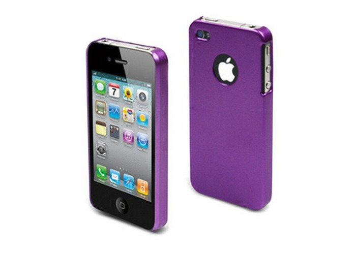 Muvit Rubber Metal Cover Hard Case for iPhone 4 Lavender - 1