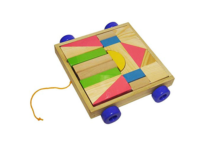 My Pull Along Wooden Construction Wagon Toy - 1