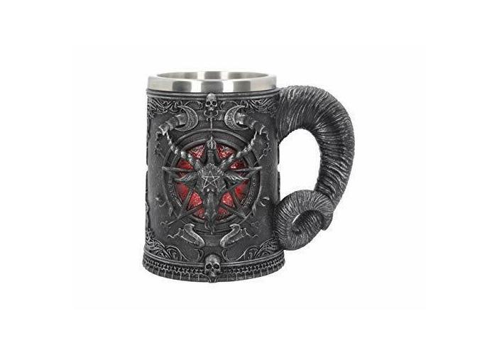 Mystical Baphomet Sabbatic Goat & Pentagram Tankard - Gothic Wicca Pagan - 1