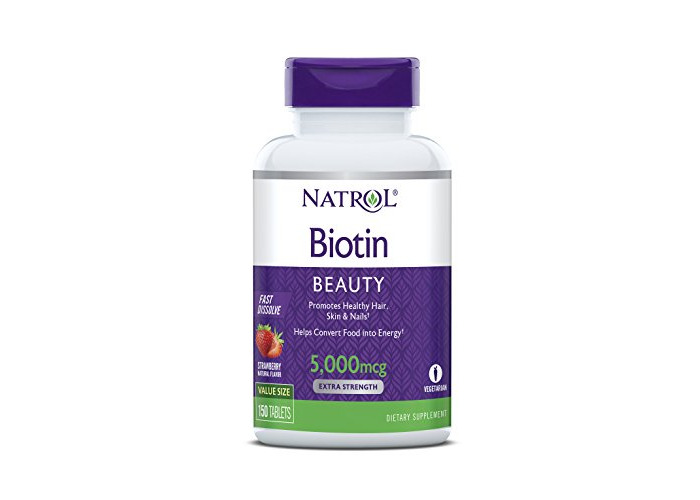 Natrol Biotin Beauty, Extra Strength, Strawberry Flavour, Fast Dissolve, 5000mcg, 150 Tablets - 1