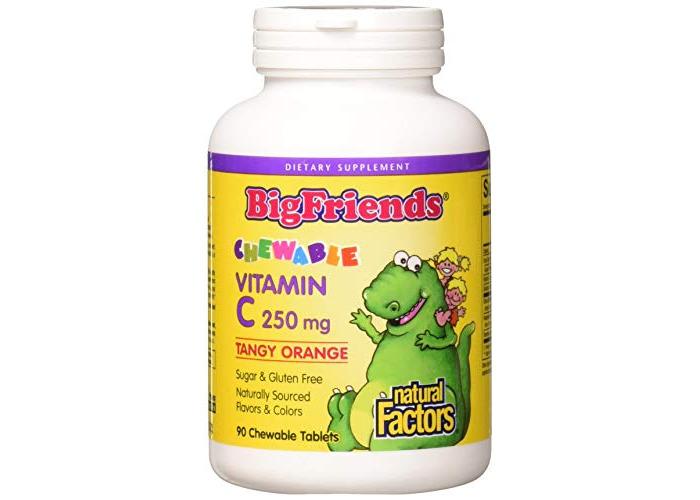 Natural Factors Big Friends Chewable Vitamin C, 250mg, 90 Chewable Tablets - 1