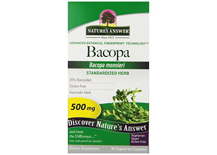 Nature's Answer Bacopa Standardized Vegetarian Capsules 500mg, 90-Count - 1