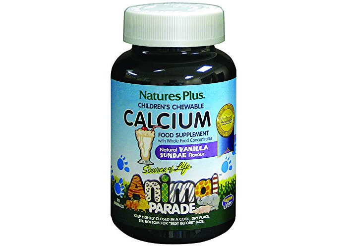 Nature's Plus Animal Parade Source of Life Calcium Children's Chewable - Natural Vanilla Sundae Flavour - 90 Chewable Animal Shaped Tablets - Promotes Healthy Bones - Gluten Free - 90 Servings - 1