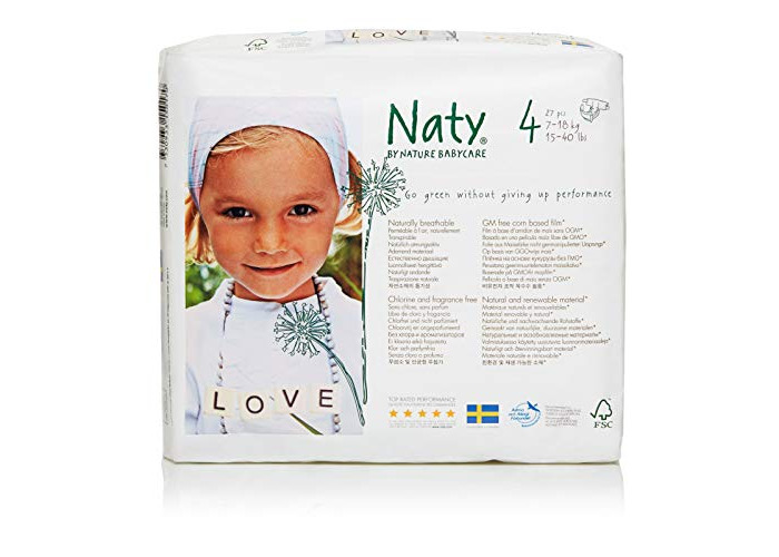 Naty by Nature Babycare Size 4 (7-18 kg or 15-40 lbs) Nappies , 27 Nappies - 1
